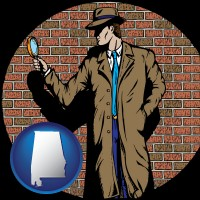 alabama map icon and a private detective with a brick wall background
