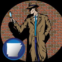 arkansas a private detective with a brick wall background