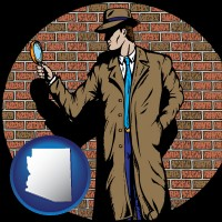 arizona map icon and a private detective with a brick wall background