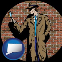 connecticut a private detective with a brick wall background