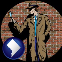 washington-dc a private detective with a brick wall background