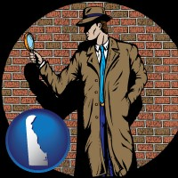 delaware a private detective with a brick wall background