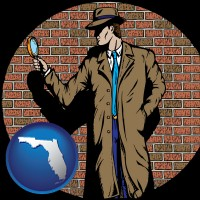 florida a private detective with a brick wall background