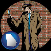 georgia a private detective with a brick wall background