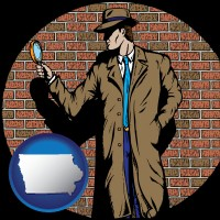 iowa a private detective with a brick wall background