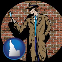 idaho a private detective with a brick wall background
