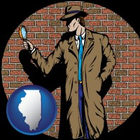 illinois a private detective with a brick wall background
