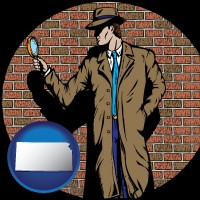kansas a private detective with a brick wall background