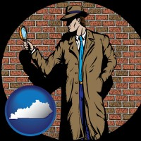 kentucky a private detective with a brick wall background