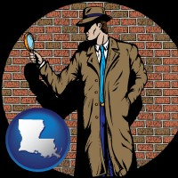louisiana map icon and a private detective with a brick wall background
