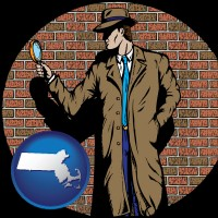 massachusetts a private detective with a brick wall background