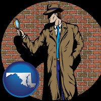 maryland map icon and a private detective with a brick wall background
