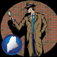 maine a private detective with a brick wall background