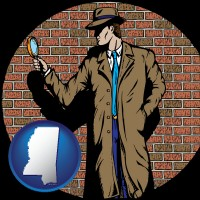 mississippi a private detective with a brick wall background