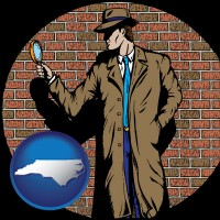 north-carolina a private detective with a brick wall background