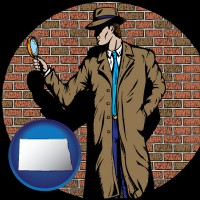 north-dakota a private detective with a brick wall background