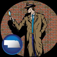 nebraska a private detective with a brick wall background