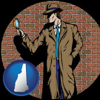 new-hampshire a private detective with a brick wall background