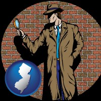 new-jersey a private detective with a brick wall background