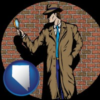 nevada a private detective with a brick wall background