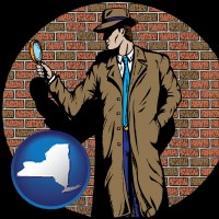 new-york map icon and a private detective with a brick wall background