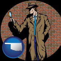oklahoma map icon and a private detective with a brick wall background