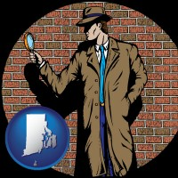 rhode-island a private detective with a brick wall background