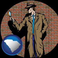 south-carolina map icon and a private detective with a brick wall background