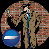 tennessee a private detective with a brick wall background