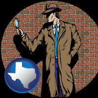 texas a private detective with a brick wall background