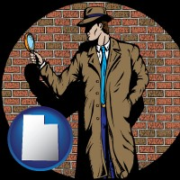 utah a private detective with a brick wall background