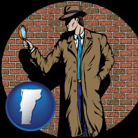vermont a private detective with a brick wall background