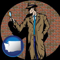 washington map icon and a private detective with a brick wall background