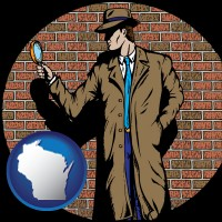 wisconsin a private detective with a brick wall background