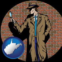 west-virginia a private detective with a brick wall background