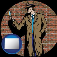 wyoming map icon and a private detective with a brick wall background