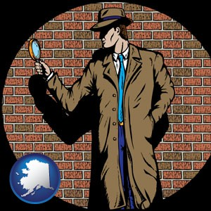 a private detective with a brick wall background - with Alaska icon