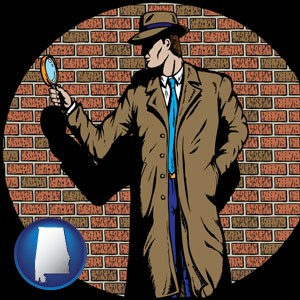 a private detective with a brick wall background - with Alabama icon