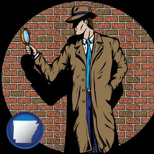 a private detective with a brick wall background - with Arkansas icon