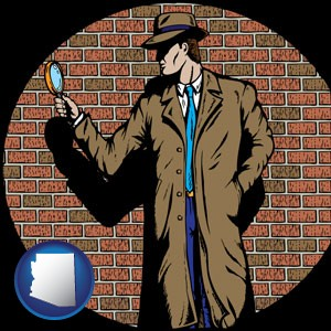 a private detective with a brick wall background - with Arizona icon