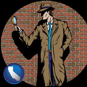 a private detective with a brick wall background - with California icon