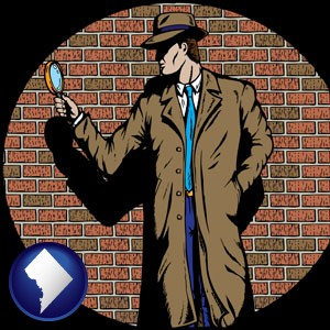 a private detective with a brick wall background - with Washington, DC icon