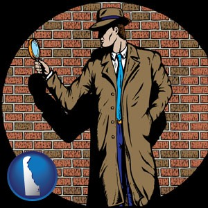 a private detective with a brick wall background - with Delaware icon