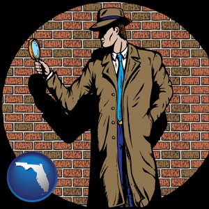a private detective with a brick wall background - with Florida icon