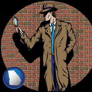a private detective with a brick wall background - with Georgia icon
