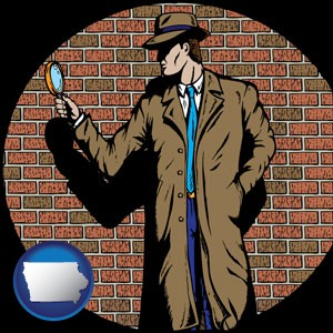 a private detective with a brick wall background - with Iowa icon