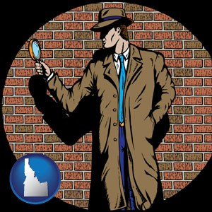 a private detective with a brick wall background - with Idaho icon