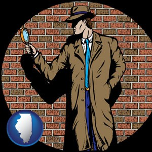 a private detective with a brick wall background - with Illinois icon