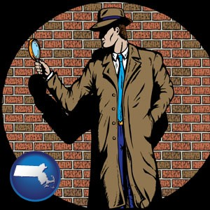 a private detective with a brick wall background - with Massachusetts icon
