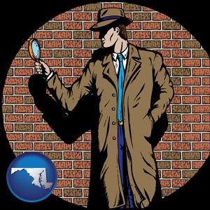 a private detective with a brick wall background - with Maryland icon